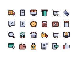 conjunto de ícones de cores lineares de comércio eletrônico e compras vetor