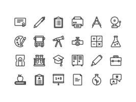conjunto de ícones de esboço de escola e educação vetor