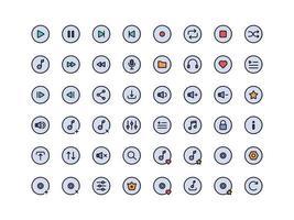 conjunto de ícones de cores lineares dos botões do music player vetor