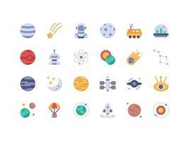 conjunto de ícones planos de objetos espaciais vetor