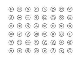 conjunto de ícones de contorno de botões do music player vetor
