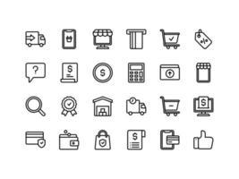 conjunto de ícones de contorno de comércio eletrônico e compras vetor