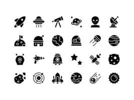 conjunto de ícones de glifo de objetos espaciais vetor
