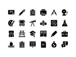 conjunto de ícones de glifo escolar e educacional vetor