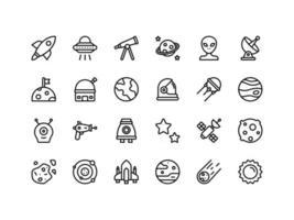 conjunto de ícones de contorno de objetos espaciais vetor
