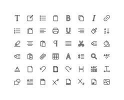 conjunto de ícones de esboço de editor de texto vetor