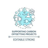 apoiando o ícone do conceito de projetos de compensação de carbono. neutralizando as emissões de co2 ilustração de linha fina de ideia abstrata. sustentabilidade energética. desenho de cor de contorno isolado vetor. curso editável vetor