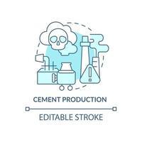 ícone do conceito de produção de cimento. ilustração de linha fina de ideia abstrata de emissão de carbono humano. processo de manufatura. ingrediente de construção. desenho de cor de contorno isolado vetor. curso editável vetor
