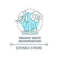 ícone do conceito de decomposição de resíduos orgânicos. as emissões naturais de carbono causam a ideia abstrata de ilustração em linha fina. processo de compostagem. desenho de cor de contorno isolado vetor. curso editável vetor