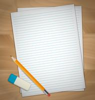 Folhas de papel, borracha e lápis