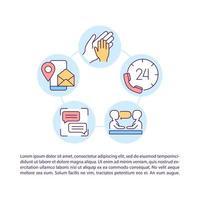 24 7 ícones de linha de conceito de atendimento ao cliente com texto vetor