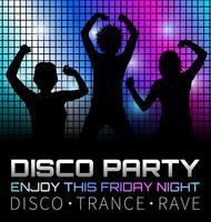 Cartaz de discoteca com dançarinos, ilustração gráfica vector