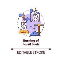 ícone do conceito de queima de combustíveis fósseis. as emissões de carbono humano causam a ilustração de linha fina de ideia abstrata. combustão de óleo, gás natural e carvão. desenho de cor de contorno isolado vetor. curso editável vetor
