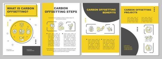 modelo de folheto de significado de compensação de carbono. projetos ambientais. folheto, livreto, impressão de folheto, design da capa com ícones lineares. layouts de vetor para apresentação, relatórios anuais, páginas de anúncios