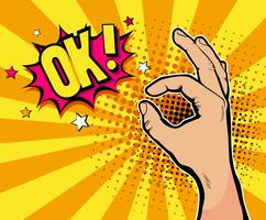 Fundo de pop art com mão masculino mostrando sinal de tudo bem e OK! balão de fala. Entregue a ilustração tirada no estilo cômico retro no fundo de intervalo mínimo.