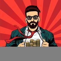 Hipster barba masculino empresário pop art vetor