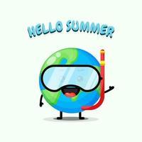 Mascote fofo da terra usando equipamento de mergulho e cumprimentos de verão vetor