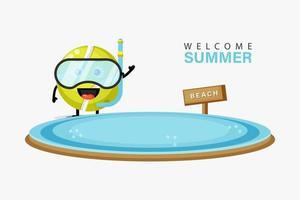mascote da bola de tênis nadando na praia no verão vetor