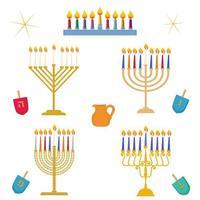 diferentes tipos de hanukkah festival de luz tradicional candelabro de menorá dourado com velas coloridas vetor