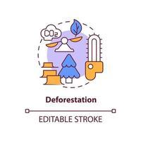 ícone do conceito de desmatamento. as emissões de carbono humano causam a ilustração de linha fina de ideia abstrata. degradação florestal. remoção permanente de árvores. desenho de cor de contorno isolado vetor. curso editável vetor