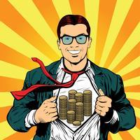 Super herói masculino empresário pop art ilustração retrô vetor