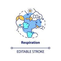 ícone do conceito de respiração. ilustração de linha fina de ideia abstrata de emissões de carbono natural produzindo co2 pela respiração. inspirando, expirando processo. desenho de cor de contorno isolado vetor. curso editável vetor