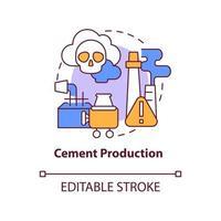 ícone do conceito de produção de cimento. ilustração de linha fina de ideia abstrata de emissão de carbono humano. processo de manufatura. impacto ambiental concreto. desenho de cor de contorno isolado vetor. curso editável vetor