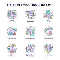 conjunto de ícones do conceito de emissões de carbono. ilustração colorida de linhas finas da ideia das mudanças climáticas. cálculo e redução de emissões. dióxido de carbono. desenhos de contorno isolados de vetor. curso editável vetor