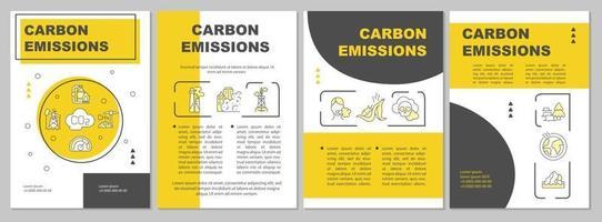 modelo de folheto de emissões de carbono. fontes naturais antropogênicas. folheto, livreto, impressão de folheto, design da capa com ícones lineares. layouts de vetor para apresentação, relatórios anuais, páginas de anúncios