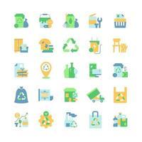 conjunto de ícones de cor plana de vetor de gerenciamento de resíduos. coleta de lixo residencial. trituração de papel. lixo volumoso. clipart de estilo de desenho animado para pacote de aplicativos móveis. pacote de ilustração rgb isolado