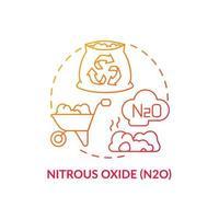 ícone do conceito de óxido nitroso. ilustração de linha fina de ideia abstrata n2o. impacto no aquecimento global. pecuária, operações agrícolas. danos à camada de ozônio. desenho de cor de contorno isolado de vetor