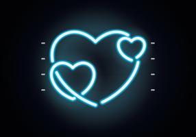 Parede de néon do coração vetor