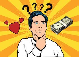 Amor ou dinheiro Pop Art Style vetor