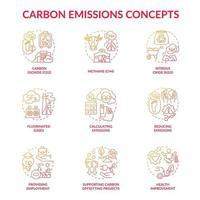 conjunto de ícones do conceito de emissões de carbono. ilustração colorida de linhas finas da ideia das mudanças climáticas. gases fluorados. melhoria da saúde. metano, co2. fornecer emprego. desenhos de contorno de vetor isolado
