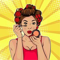 Garota colocando em maquiagem estilo Pop Art vetor