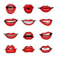 Conjunto de lábios femininos em quadrinhos
