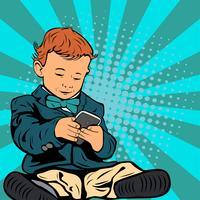 Criança em estilo de pop art de smartphone