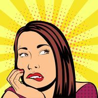 Estilo de mulher pop de pensamento vetor