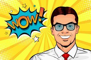 Jovem, surpreendido, homem, em, óculos, com, boca aberta vetor
