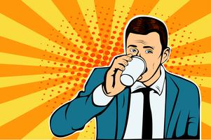Homem negócios, bebendo, xícara café, olhando lateralmente vetor
