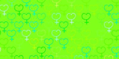 cenário de vetor verde e amarelo claro com símbolos de poder da mulher.