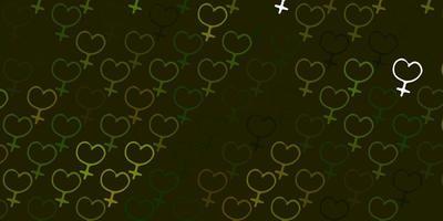 fundo vector verde claro com símbolos de mulher.