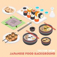 ilustração do conceito de comida japonesa de informação gráfica