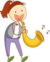 uma criança rabiscada tocando saxofone personagem de desenho animado isolado vetor