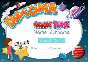 modelo de diploma ou certificado para crianças em idade escolar vetor