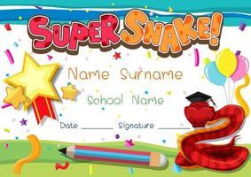 modelo de diploma ou certificado para crianças em idade escolar com personagem de desenho animado super cobra vetor