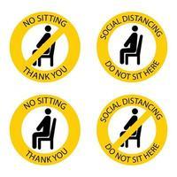 não sentar lá. assento proibido. mantenha distância social para prevenir a infecção pelo coronavírus. não sente aqui. mantenha distância quando estiver sentado. homem na cadeira. vetor