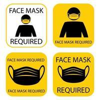 máscara necessária. máscara facial necessária enquanto estiver no local. a cobertura deve ser usada em lojas ou espaços públicos. prevenção logo modelo adesivo para a loja. colocar uma máscara protetora. vetor