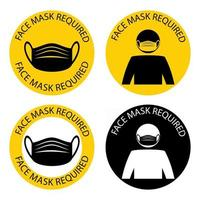 máscara necessária. máscara facial necessária enquanto estiver no local. a cobertura deve ser usada em lojas ou espaços públicos. colocar a cobertura protetora. apenas na máscara entre. vetor