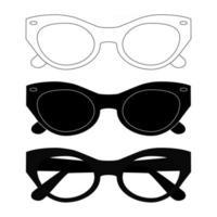 conjunto de óculos de sol pretos. símbolo de óculos de sol liso em fundo branco. silhueta de aro de óculos de estilo moderno. acessórios ópticos masculinos e femininos elegantes. ícones de sombra. vetor